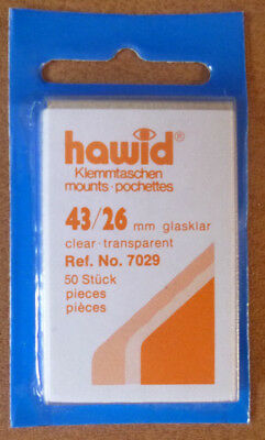 HAWID STAMP MOUNTS CLEAR Pack of 50 Individual 43mm x 26mm - Ref. No. 7029