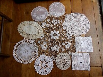 10 Pretty Antique Doilies~Hand Made Lace~Hand Crochet Lace & Hand Embroidery