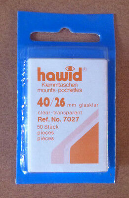 HAWID STAMP MOUNTS CLEAR Pack of 50 Individual 40mm x 26mm - Ref. No. 7027