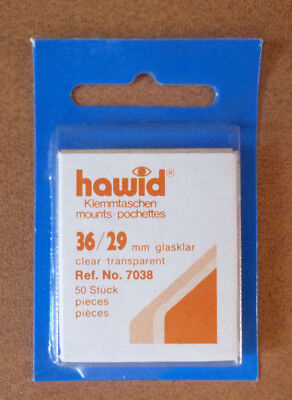 HAWID STAMP MOUNTS CLEAR Pack of 50 Individual 36mm x 29mm - Ref. No. 7038