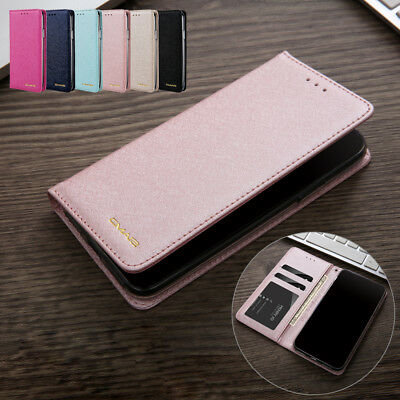 For iPhone XS Max XR 8 Plus Luxury Magnetic Silk Leather Wallet Case Flip Cover