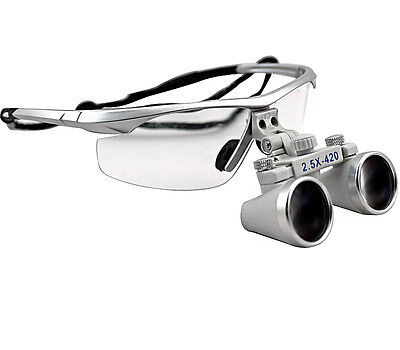 2.5X 420mm Dental Loupes Surgical Medical Binocular Loupes Magnifier silver