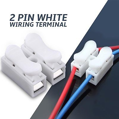 Electrical Cable Twin Connectors 2 Pin White Wiring Terminal High Quality x 10