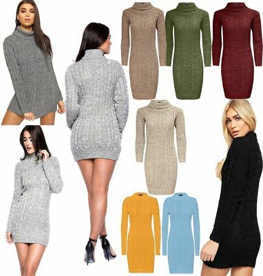 Women Ladies Chunky Cable Knitted Polo Neck Midi Jumper  Long Sleeve Party Dress