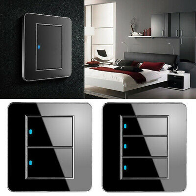 Smart Touch Light Switch Crystal Glass 1/2/3Gang 1Way Panel Power Wall Control