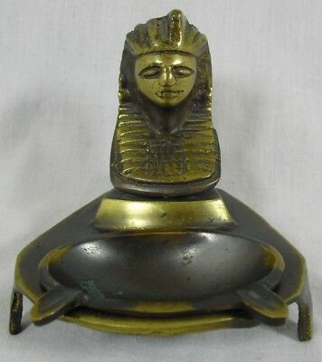 Vintage Brass Egyptian Ashtray Art Deco Pharaoh Head Egypt Sphinx Removable Tray