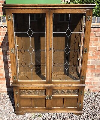 OLD CHARM Carved Oak Leaded Glass Glazed Bookcase Display Cabinet Mirrored Back