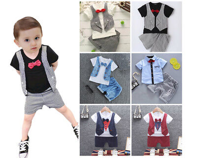 2PCS Toddler Baby boys summer Clothes Tee & short Pants party outfits gentleman
