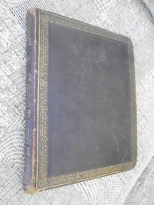 Victorian Leather Scrap Album Some Greetings Cards , Sketches Earliest Date 1842