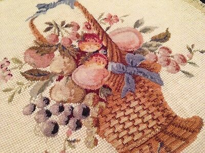 VINTAGE HAND EMBROIDERED TAPESTRY PANEL ~  PRETTY BASKET OF FRUIT And BERRIES