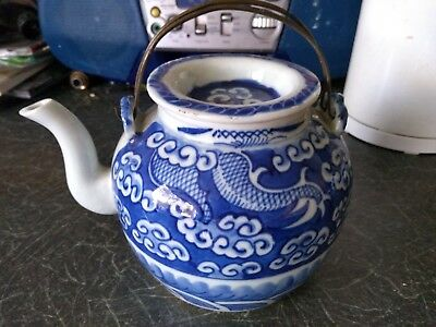 Vintage Chinese Teapot. Blue And White