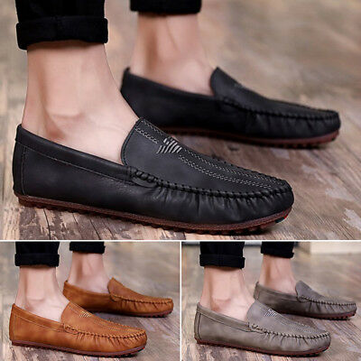 Men Leather Casual Loafers Fashion Moccasins Slip on Driving Shoes UK Size 6-10