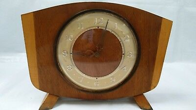 Vintage Retro Wooden Wind Up Mantle Clock Westclox Scotland Art Deco
