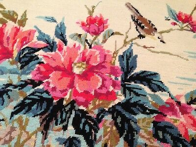 GORGEOUS VINTAGE HAND EMBROIDERED TAPESTRY PANEL ~  PRETTY FLOWERS And BIRD