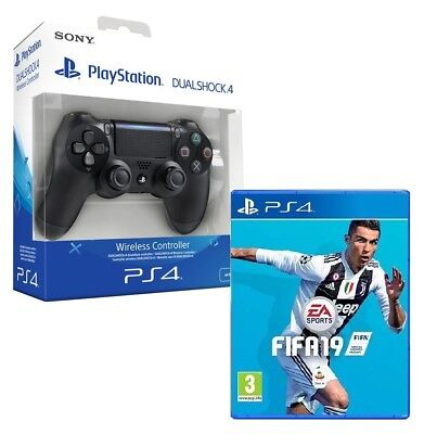 Controller Ps4 Dualshock 4 V2 Nero Playstation 4 + Fifa 19 Ps4 Italiano