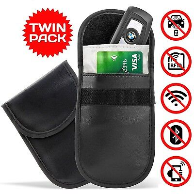 2 x CAR KEY SIGNAL BLOCKER FOB POUCH CASE KEYLESS RFID BLOCKING BAG FARADAY CAGE