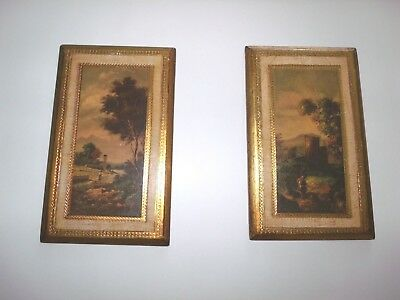 Florentine Italy Landscape Wall Art Plaque PR Hollywood Regency Vtg Mid Century