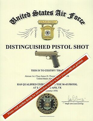 U.S. Air Force Distinguished Pistol Shot Replacement Certificate