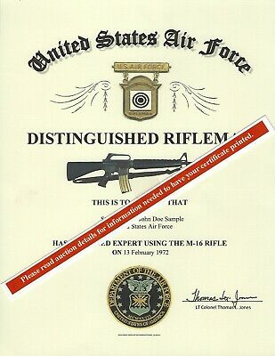 U.S. Air Force Distinguished Rifleman Replacement Certificate