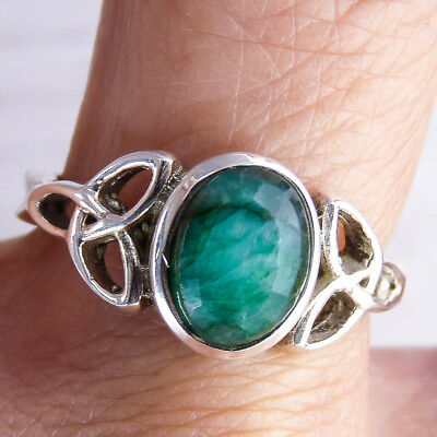 Filigree Feature SilverSari Gem Ring US 7.25 Solid 925 Stg Silver INDIAN EMERALD