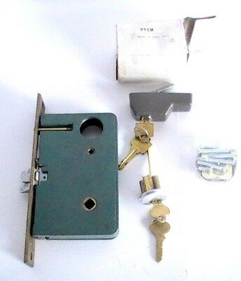 L👀K  Antique Brass Door Lock Mortise Cylinder Push Button Latch Cylinder & Keys