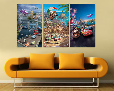 Oil Painting Abstract HD Print Disney Cars 3 Piece On Canvas Modern Wall Art