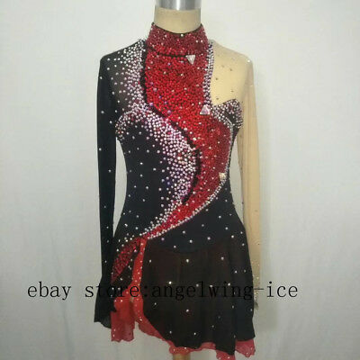 Black Figure Skating Dresses Women Custom Ice Skating Dress Angel Spandex B32
