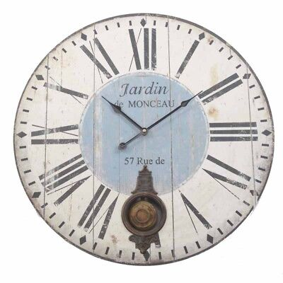 Wood Pendulum Clock With Roman Numerals Wall Mounted Clock Vintage style