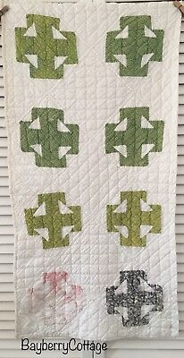 Antique Vintage Old Hand Pieced Double T Poison Green Early Print Quilt Piece #1