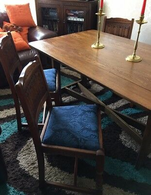 Old Charm Table & 4 Chairs Lovely Condition Carved Oak Drop Leaf