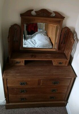 Edwardian/Early 1930 , Arts And Craft Dressing Table With Drawers. Satin Wood