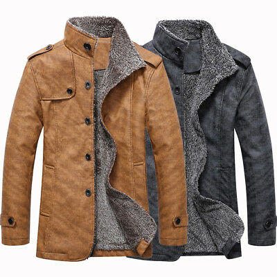 Men's Winter Jacket Coat Warm Stand Collar Single Breasted Epaulet Design Coat