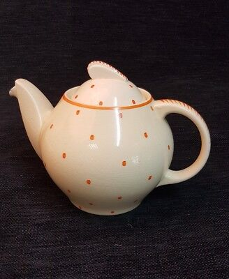 Vintage Art Deco Susie Cooper for John Lewis KESTRAL orange polka dot teapot