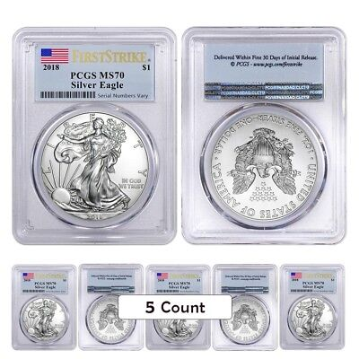 Lot of 5 - 2018 1 oz Silver American Eagle $1 Coin PCGS MS 70 FS (Flag Label)