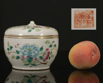 A BEAUTIFUL antique CHINESE PORCELAIN COVERED JAR PEONY FLOWERS 1900