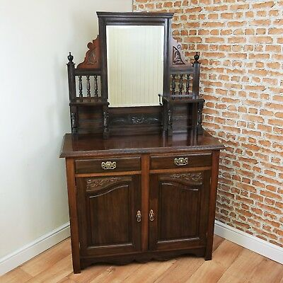 Antique Edwardian Carved Walnut Mirror Backed Hall Sideboard Chiffonier Cupboard