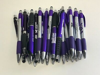 30 Lot Misprint Ink Pens with Soft Tip Stylus for Touch Screen, Purple Barrels