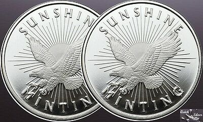 Lot of 2-1 oz Sunshine Mint Silver Eagle Rounds **.999 fine & with MintMark SI**