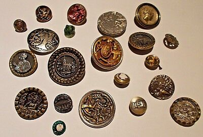 Beautiful Victorian Button Collection, Cameo, Glass, Metal & More