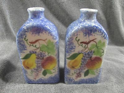 "Vtg Pair Nos Italy Hand Painted Apple Grape Pear 9"" Tall Bottle Bud Vase Set Of2"
