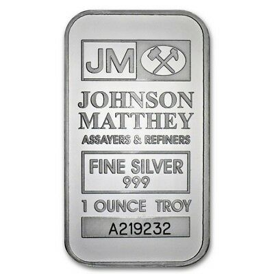 1 oz Johnson Matthey 999 fine Silver Bar