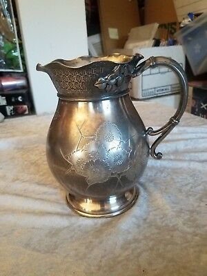 OLD Hartford Silver Plate Pitcher Ornate ~Quadruple Plate