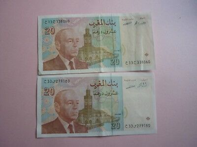MOROCCO - 2 x 2002 ISSUE 20 DIRHAMS NOTES P68 - VF/VF+