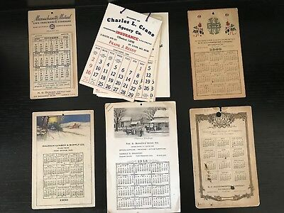 6 Antique & Vintage Calendars Insurance Banks Printer Lumber 1928/29/33/44/48/66