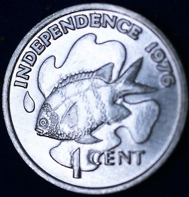 1976 Seychelles One Cent 1c Independence Day Fish BU Aluminum Coin