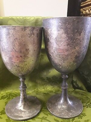 Antique Large Pair Of Goblets