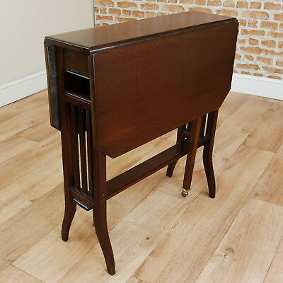 Antique Edwardian Solid Mahogany Small Sutherland Drop Leaf Table Original C1890
