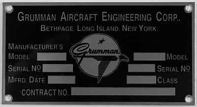 Repro Grumman Aircraft Data Plate, 1943-1978, Vintage WWII Aviation  DPL-0115