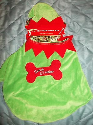 Dog Christmas Santa's Little Helper Costume Funny Pet Elf Outfit Fancy Dress