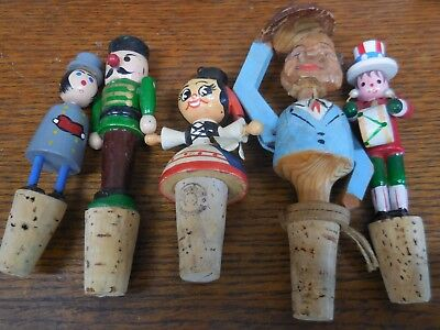 5 Vintage Carved & Wooden Figural  Bottle Stoppers One Mechanical One Fanobri